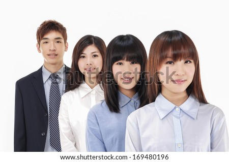 group of business people smiling  - stock photo