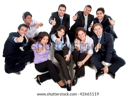 group of business people smiling with thumbs up - isolated over a white background