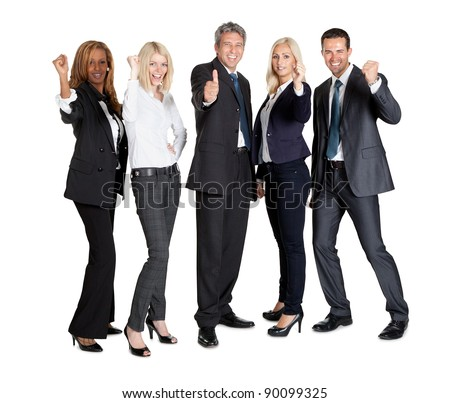Group of business people standing against white background with thumbs up sign - stock photo