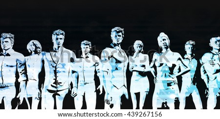 Group of Business People Standing and Looking at You 3D Illustration Render - stock photo