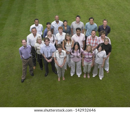 Group of business people standing outside - stock photo