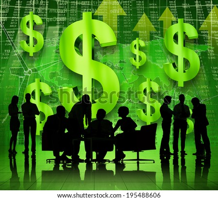 Group Of Business People Talking And Discussing On A Green Environmental Conservation Themed Background - stock photo