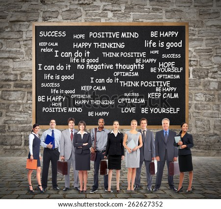 Group of business people team near infographic background. - stock photo