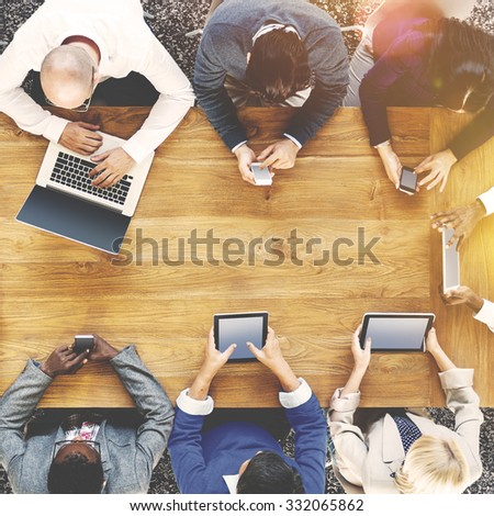 Group of Business People Using Digital Devices Concept - stock photo