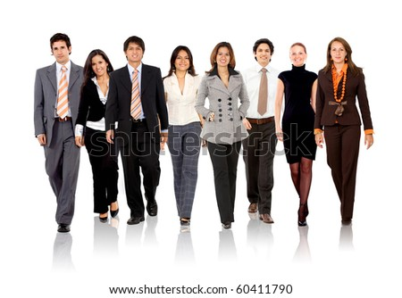 Group of business people walking - isolated over a white background - stock photo