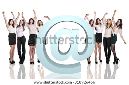 Group of business people with big e-mail icon on the white background - stock photo