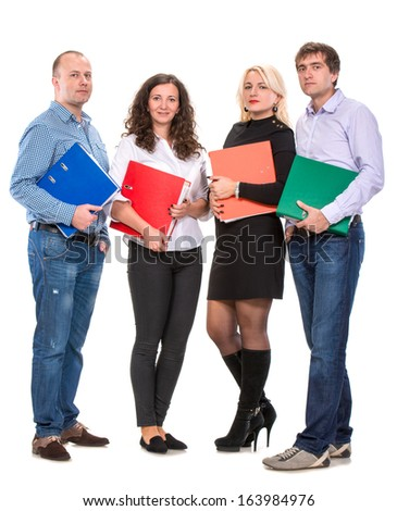 Group of business people with folders on a white background