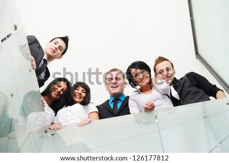 Group of business people with large copy space - stock photo