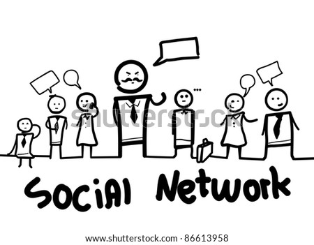 Group of business people  with social chat sign and speech bubbles representing a social network. Isolated on a white  background - stock photo