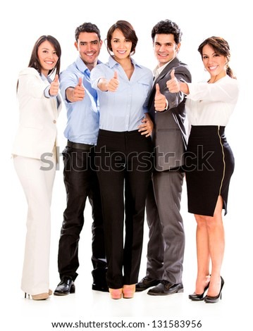 Group of business people with thumbs up  - isolated over a white background - stock photo