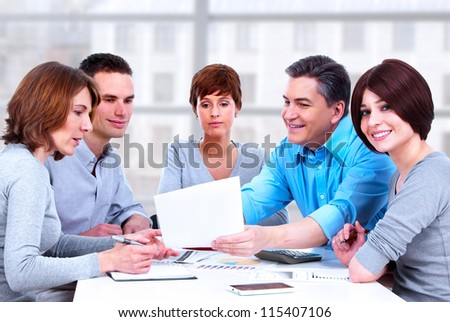 Group of business people. Working at the office.