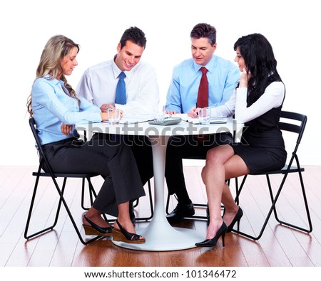 Group of business people working. Isolated on white background.