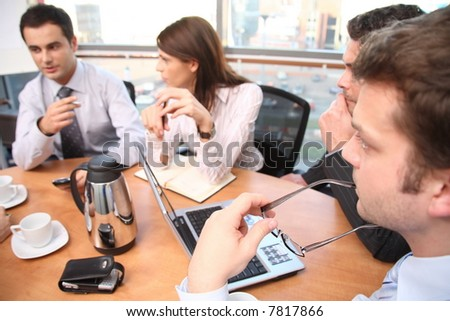 group of business people working on project - stock photo