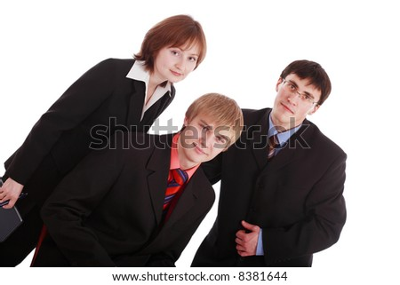 Group of business people working together. Shot in studio.