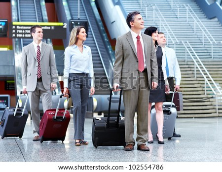 Group of business person at the international airport. - stock photo