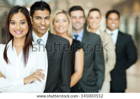 group of business team standing in a row - stock photo
