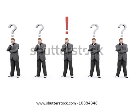 group of businessman confused with one of them have figured what to do - stock photo