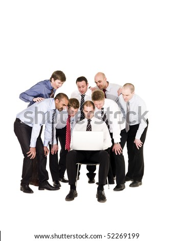 Group of businessmen in front of a laptop isolated on white background