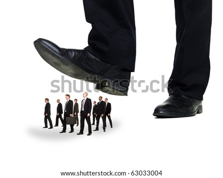 Group of Businessmen under a sole isolated on white background - stock photo