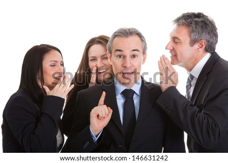 Group Of Businesspeople Gossiping Over White Background - stock photo