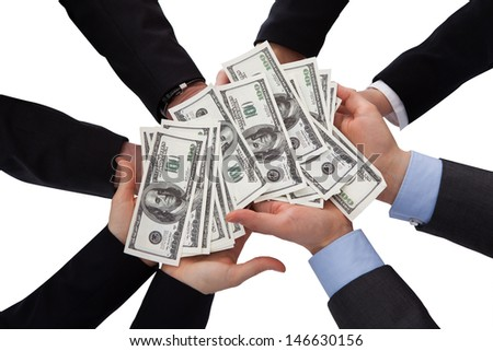 Group Of Businesspeople Holding Banknote Over White Background - stock photo