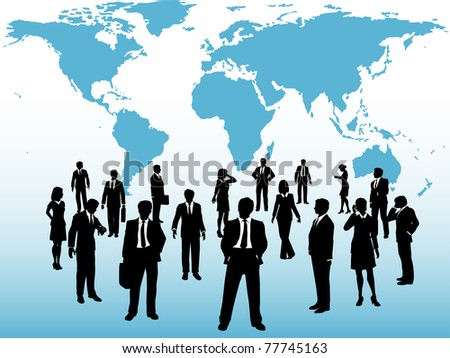 Group of busy global business people silhouettes connect under world map - stock photo