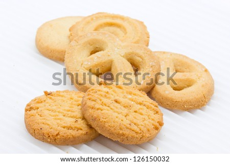Group of butter cookies isolated on white. - stock photo