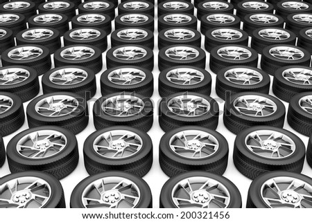 Group of car tires with alloy rims