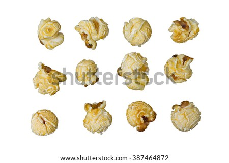 Group of Caramel Popcorn Isolated On white background, Clipping path  included. - stock photo