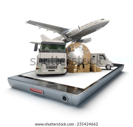 Group of cardboard boxes, the Earth and air and land vehicles on top of a handheld device - stock photo