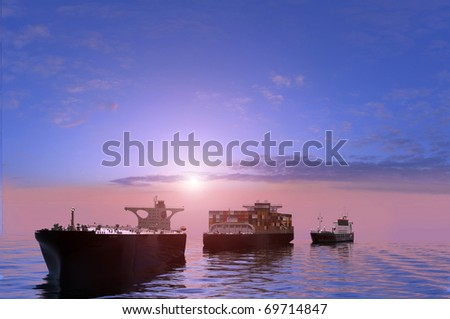 Group of cargo ships at sea. - stock photo