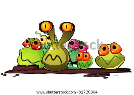 Group of cartoon germs on some dirty surface - stock photo