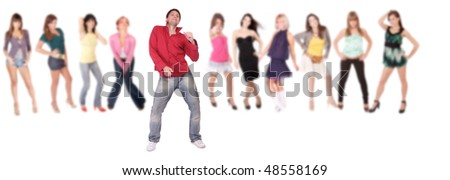 group of casual happy people smiling and standing isolated over white background