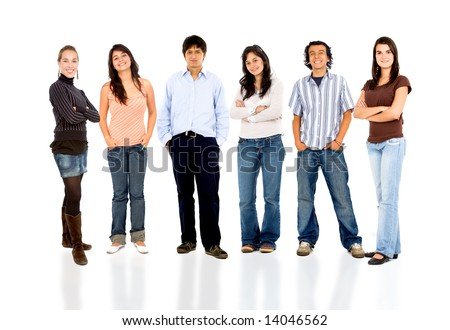 group of casual happy people smiling isolated over a white background - stock photo