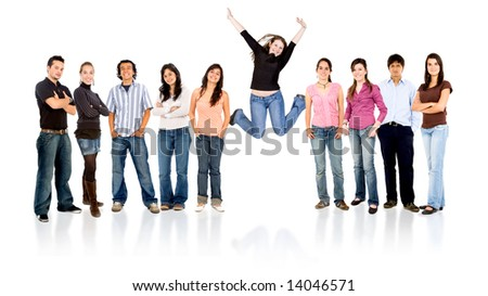 group of casual happy people with one succesful girl jumping and smiling  isolated over a white background - stock photo