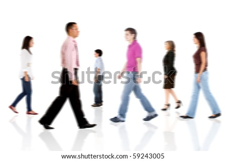 Group of casual people walking - isolated over a white background - stock photo