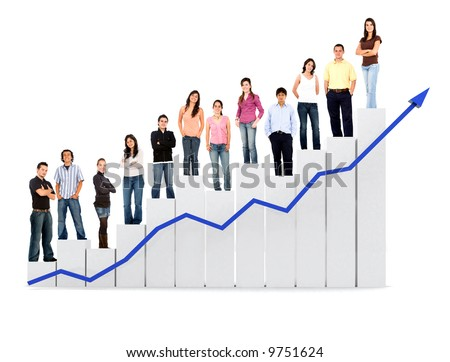 group of casual people with a chart representing growth and success - isolated over a white background - stock photo