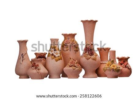 Group of ceramic vase on isolated background - stock photo