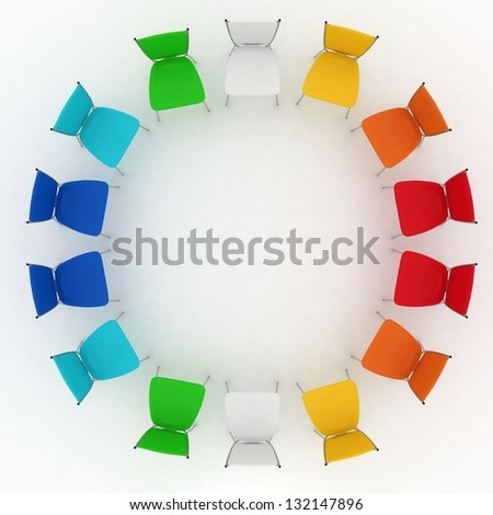 group of chairs costs round on white background - stock photo