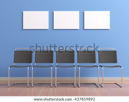 Group of chairs for visitors or staff standing along the walls of the corridor. Blue wall and hanging on clean white blank posters mock up for branding design, advertising or photo. 3d illustration