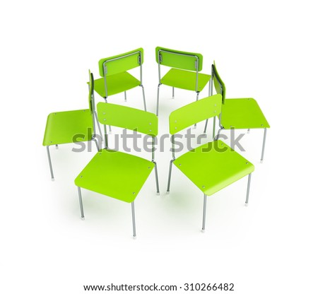 group of chairs stand in a circle. 3d Illustration on a white background - stock photo