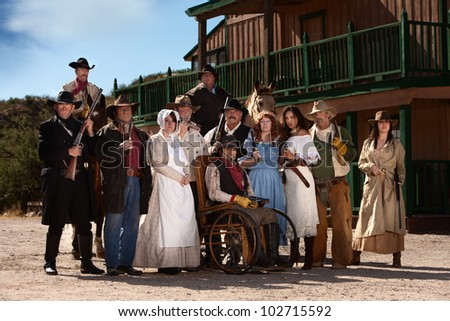 Group of characters for an American old west theme - stock photo