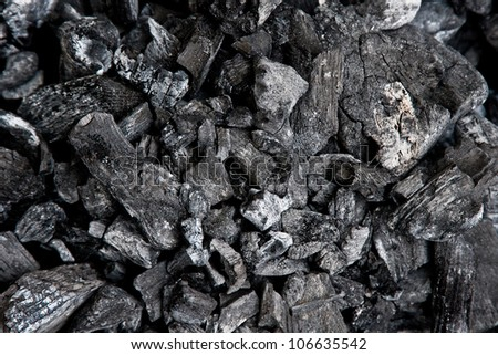 Group of charcoal lumps - stock photo