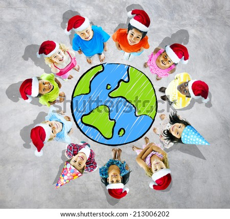Group of cheerful children from around the world. - stock photo