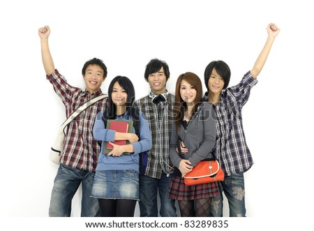 group of cheerful friends with notebooks and paper folders posing - stock photo