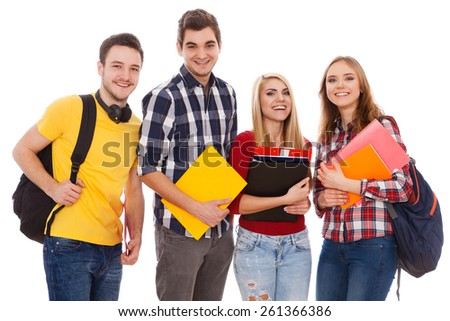 Group of cheerful students isolated on white background