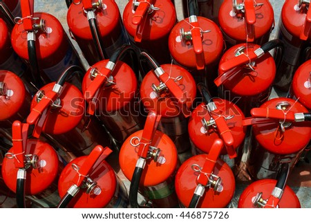 Group of  Chemical fire extinguisher  - stock photo