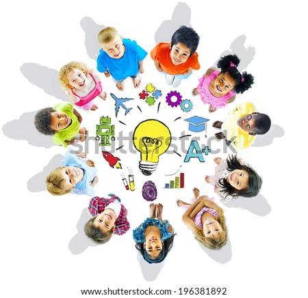 Group of Children and Inspiration Concept - stock photo