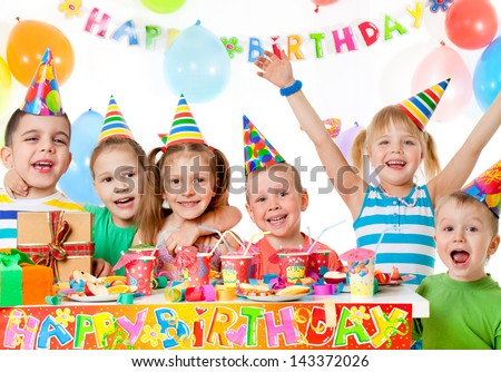 group of children at birthday party - stock photo