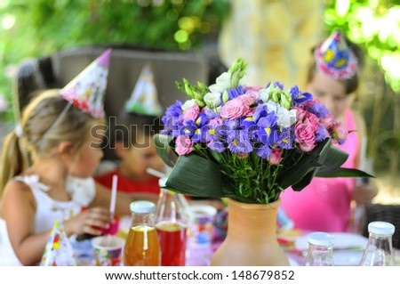 group of children at birthday party . - stock photo